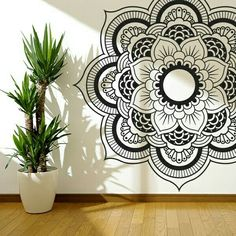 black + white mandala wall art