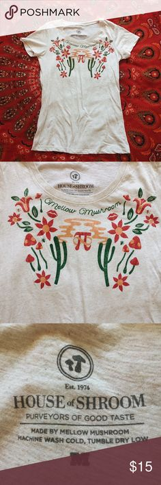 Mellow mushroom desert tee Soft & comfortable women's T-shirt from the southern psychedelic pizza chain called Mellow Mushroom. This is a rare design they made with mushrooms, cacti, flowers & pi symbol 🍄🌵✨ True to women's size Medium. (Brand listed for exposure) Price is negotiable 🌞 American Apparel Tops Tees - Short Sleeve