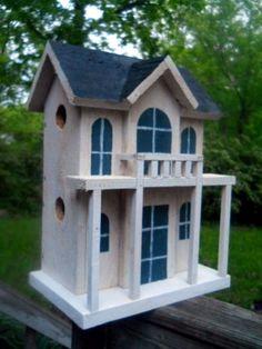 Birdhouse folk art  4 nest.Rustic bird house, dollhouse display Made in the USA.