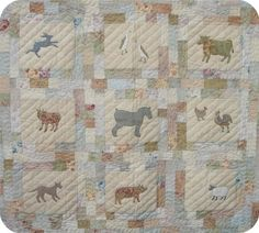 This quilt features everybodys favourite farm animals. The animals are made using raw edge, fusible applique and free motion machine drawing (yes, you