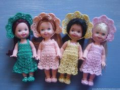 Four Cute Kelly Dolls in new outfits