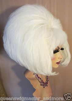 Drag Queen Wig Teased Out White Double Big Pageboy