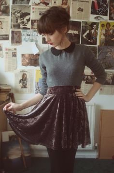 Velvet Skirt & Long Sleeve Collared Knit Top