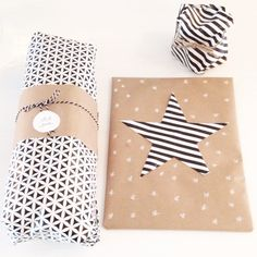 Like the use of the coloured wrapping paper and the brown paper - I would use mint instead of the black/white.