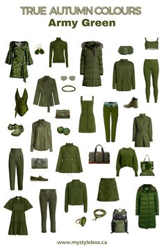 TRUE AUTUMN COLOURS_ARMY GREEN Bright Spring, Warm Spring, Spring Colors, Dark Complexion, Dark Skin, Warm Colors, Autumn Colours, Deep Autumn Color Palette, Seasonal Color Analysis