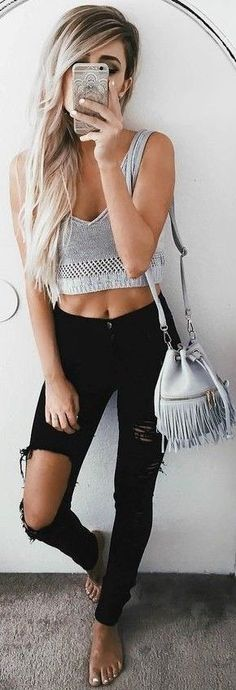 #summer #girly #outfits | Grey + Black