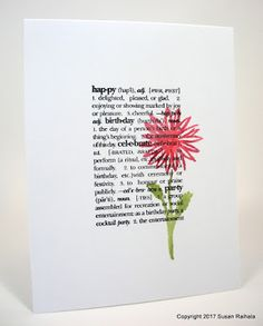 stamps: Hero Arts Dictionary Greetings, watercolor flowers ink: Archival black, paper: Papertrey white accessories: Memento and StampinUp markers, water spritzer bottle