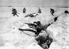 Soldados soviéticos durante la batalla de Moscú.