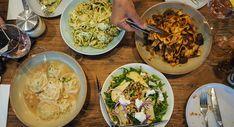 Pastizzi Cafe, Newtown Pesto Sauce, Pesto Pasta, Pear Walnut Salad, Crab Ravioli, Vinaigrette Dressing, Pesto Chicken, Penne, Places To Eat, Kitchens