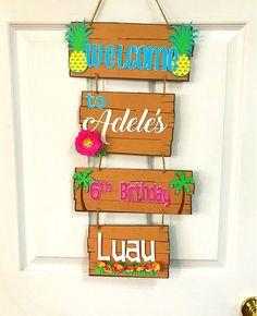 Luau Welcome Sign Luau Party Door Sign Luau Door Hanger image 5 Luau Theme Party, Hawaiian Party Decorations, Moana Birthday Party, Hawaiian Birthday, Moana Party, Luau Birthday, Tiki Party, Party Themes, Hawaiian Parties