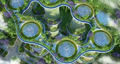 Image 13 of 29 from gallery of Vincent Callebaut's Hyperions Eco-Neighborhood Produces Energy in India. Photograph by Vincent Callebaut Architectures Green Architecture, Architecture Portfolio, Futuristic Architecture, Sustainable Architecture, Sustainable Design, Architecture Design, Landscape Architecture, Pavilion Architecture, Architecture Diagrams