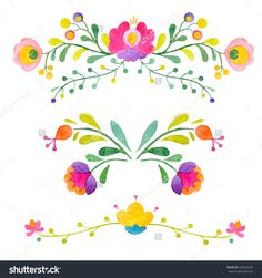 Watercolor abstract flowers vector image on VectorStock Abstract Flowers, Abstract Watercolor, Mexican Pattern, Mexican Embroidery, Embroidery Ideas, Mexican Flowers, Diamond Tattoos, Illustration Blume, Doodle Art Journals