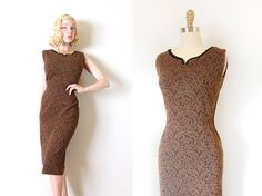 vintage 1950s dress // 50s French knit wiggle by TrunkofDresses, $145.00