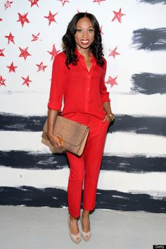 Loving the red on red here.  _______________________  Alice   Olivia By Stacey Bendet - Arrivals - Spring 2013 Mercedes-Benz Fashion Week