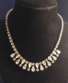 Vintage Signed Garne Jewelry Round Tear Drop Rhinestone Necklace Choker #GarneJewelry