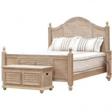 Beautiful Looking Double Bed In Wood With Buff Surface And An Elegant  Looking Footrest! Enhances