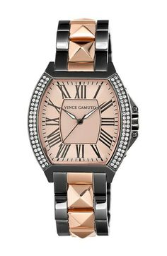 Vince Camuto Crystal Bezel Tonneau Watch, 35mm x 41mm available at #Nordstrom