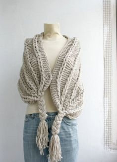 Hand Knitted Beige Rectangle Shawl / Over Size Long by denizgunes