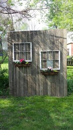 My Shed Plans - My old deck wood and windows from neighbors trash made a cute privacy screen. - Now You Can Build ANY Shed In A Weekend Even If You've Zero Woodworking Experience! Backyard Patio Designs, Backyard Landscaping, Landscaping Ideas, Desert Backyard, Large Backyard, Privacy Fence Landscaping, Inexpensive Landscaping, Luxury Landscaping, Landscaping Software