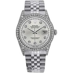 Pre-owned Rolex Watch Datejust 16234 36mm Silver Dial Diamond Bezel... ($5,999) ❤ liked on Polyvore featuring jewelry, watches, accessories, silver, diamond bezel watches, rolex watches, rolex jewelry, rolex and silver jewellery