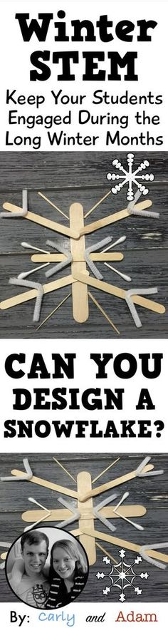 For this winter themed STEM challenge students must design a snowflake using symmetry. From Carly and Adam on Teachers Pay Teachers