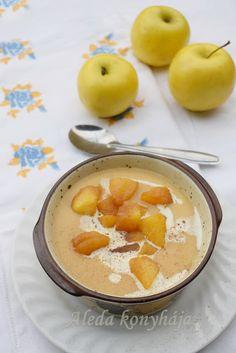 karamellizált alma krémleves Cantaloupe, Panna Cotta, Food And Drink, Pudding, Vegetarian, Sweets, Meals, Fruit, Drinks