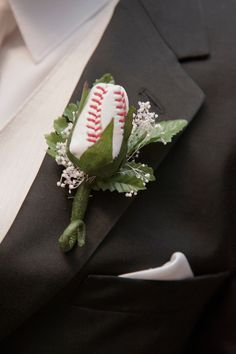 baseball boutonniere; this is kinda neat! could do this with any sport
