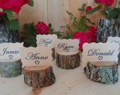12 rustic place card holders tree card by ChurchHouseWoodworks