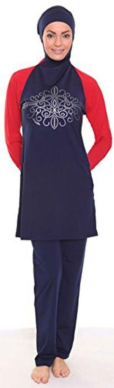U.R.Beautiful New Islamic Full Cover Modest Swimsuit Beachwear Dark Blue + Red Sleeves (Int'l - XXL) - Brought to you by Avarsha.com