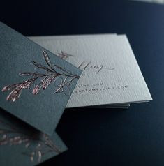 Rose gold foil on duplexed Colorplan Paper. Beck Lord Design, printed by Dot Studio London Embossed Business Cards, Foil Business Cards, Fashion Business Cards, Gold Business Card, Letterpress Business Cards, Artist Business Cards, Cute Business Cards, Visiting Card Design, Bussiness Card