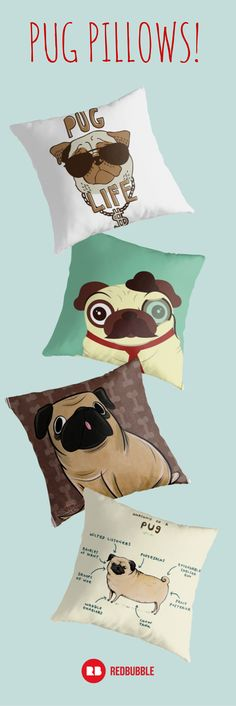 It's hard to resist that squished in face of a #pug. Show your #pet dedication with pug and #dog pillows on Redbubble.