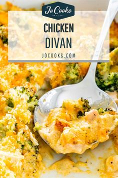 This Chicken Divan is cheesy, creamy, made with chicken, and tender florets of broccoli topped with a crunchy panko topping. #chickendivan #casserole #recipe Casserole Dishes, Chicken Divan Casserole, Casserole Recipes, Jo Cooks, Fried Chicken Breast, Chicken Recipes, Chicken Divan Recipe Easy, Fast Easy Meals, Man Food