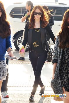 SNSD's Yoona // go for an edgy look in jeans,  blazer + skull motif tee