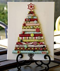 16 Creative DIY Christmas Decorations Ideas.. that fabric tree would be cute done in different shades of denim and holiday colored buttons!!!