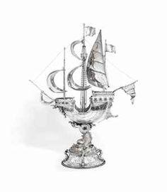 A GERMAN SILVER NEF Silver Centerpiece, Shell, Makers Mark, Antique Silver, German, Miniatures, Bronze, Deco, Antiques