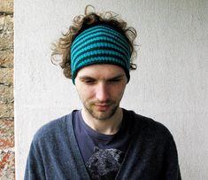 Mens Headband Guys knit hair wrap Mens dreadlock tube hat  Striped hair wrap Dread band