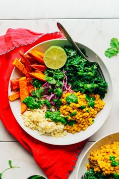NOURISHING Curried Golden Lentil & Sweet Potato Bowl! 30 minutes, healthy, SO satisfying! #vegan #plantbased #lentil #curry #sweetpotato #glutenfree #minimalistbaker