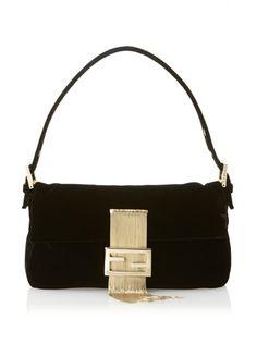 FENDI Baguette Women s Velvet Satchel (Black) 8b43429b28