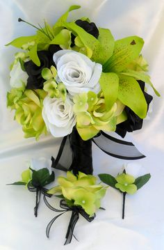 """17pcs Wedding Bridal Bouquet Set Decoration Package Silk Flowers WHITE BLACK GREEN """"Lily Of Angeles"""". $199.99, via Etsy."""