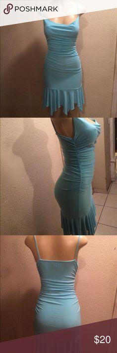 Aqua blue dress Lovely sexy blue dress. Size small . Fabric stretches to body shape. Dresses Midi