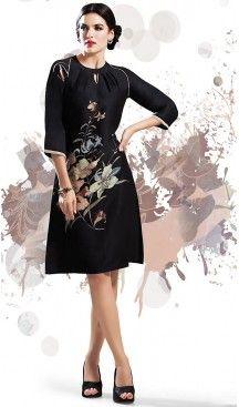 Georgette Fabric Black Straight Type Readymade Kurti | FH460371875