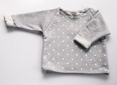 Handmade Unisex Baby Cropped Sweater - White Spots on Grey. $49.00, via Etsy.