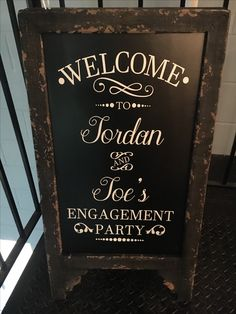 Engagement party welcome chalkboard sign Engagement party welcome chalkboard sign Winter Engagement Party, Engagement Party Signs, Engagement Party Planning, Engagement Banner, Engagement Party Decorations, Wedding Signs, Wedding Ideas, Welcome Chalkboard, Chalkboard Signs