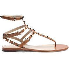 Valentino Rockstud leather flat sandals