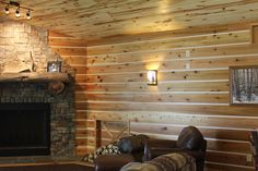 Check out this great interior! Siding using our Channel Rustic and an aspen plank ceiling looking great!