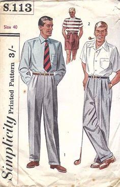 "Vintage 1950s Sewing Pattern Mens Slacks Pants Trousers Shorts Pleats W 40"" RARE #simplicity"