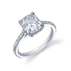 RIVIERA Cushion Cut Diamond Engagement Ring set in Platinum with white pave-set diamonds by Jean Dousset - Like this but in white gold