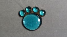 light blue paw cat dog stained glass suncatcher or tree ornament