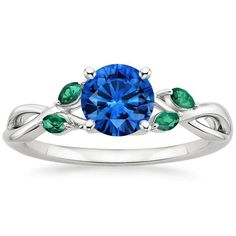Platinum Sapphire Willow Ring With Lab Emerald Accents from Brilliant Earth
