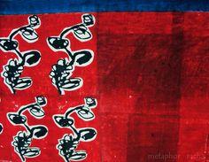 hand block printing on hand-spun and hand woven [khadi] saree,using reactive dyes  in black, madder and indigo .